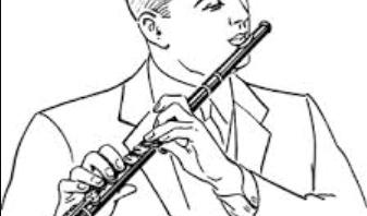 line art man playing a flute