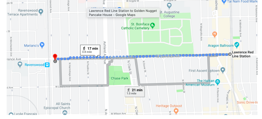 Google Map from  Chicago's  Lawrence stop to Ravenswood area.