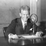 Red Barber at Broadcast Microphone