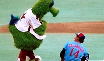 Phillies Fanatic Mascot with Andres Gallaraga