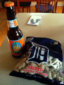 Photo of Oberon Beer bottle and bag of Peanuts